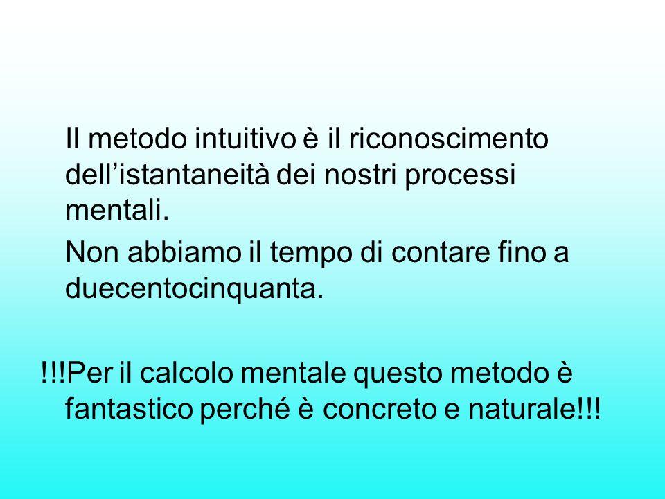 Il metodo intuitivo è il riconoscimento dell'istantaneità dei nostri processi mentali. Non abbiamo il tempo di contare fino a duecentocinquanta. !!!Pe