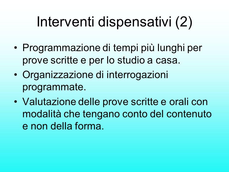 Interventi dispensativi (2) Programmazione di tempi più lunghi per prove scritte e per lo studio a casa. Organizzazione di interrogazioni programmate.