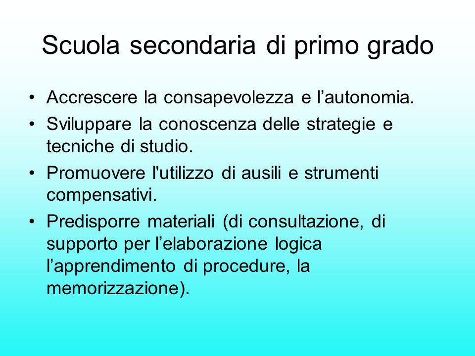 Scuola secondaria di primo grado Accrescere la consapevolezza e l'autonomia. Sviluppare la conoscenza delle strategie e tecniche di studio. Promuovere