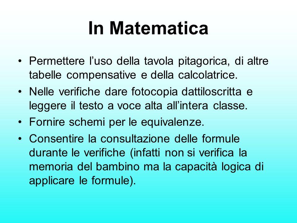 In Matematica Permettere l'uso della tavola pitagorica, di altre tabelle compensative e della calcolatrice. Nelle verifiche dare fotocopia dattiloscri
