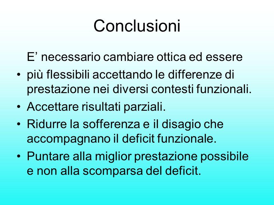 Conclusioni E' necessario cambiare ottica ed essere più flessibili accettando le differenze di prestazione nei diversi contesti funzionali. Accettare