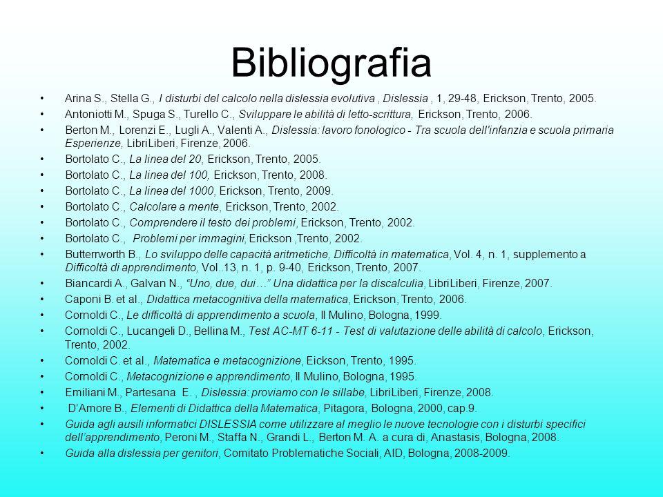 Bibliografia Arina S., Stella G., I disturbi del calcolo nella dislessia evolutiva, Dislessia, 1, 29-48, Erickson, Trento, 2005. Antoniotti M., Spuga
