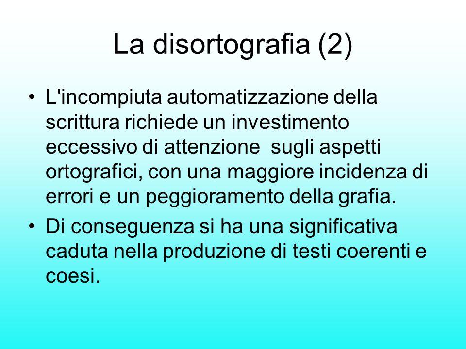 La disortografia (2) L'incompiuta automatizzazione della scrittura richiede un investimento eccessivo di attenzione sugli aspetti ortografici, con una
