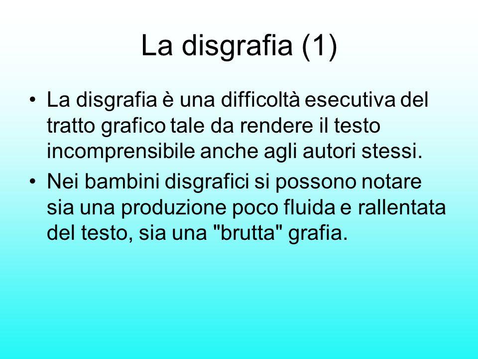 La disgrafia (1) La disgrafia è una difficoltà esecutiva del tratto grafico tale da rendere il testo incomprensibile anche agli autori stessi. Nei bam