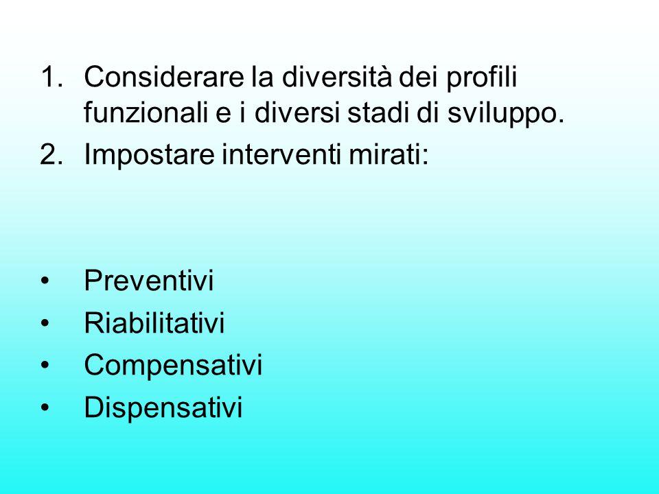 1.Considerare la diversità dei profili funzionali e i diversi stadi di sviluppo. 2.Impostare interventi mirati: Preventivi Riabilitativi Compensativi