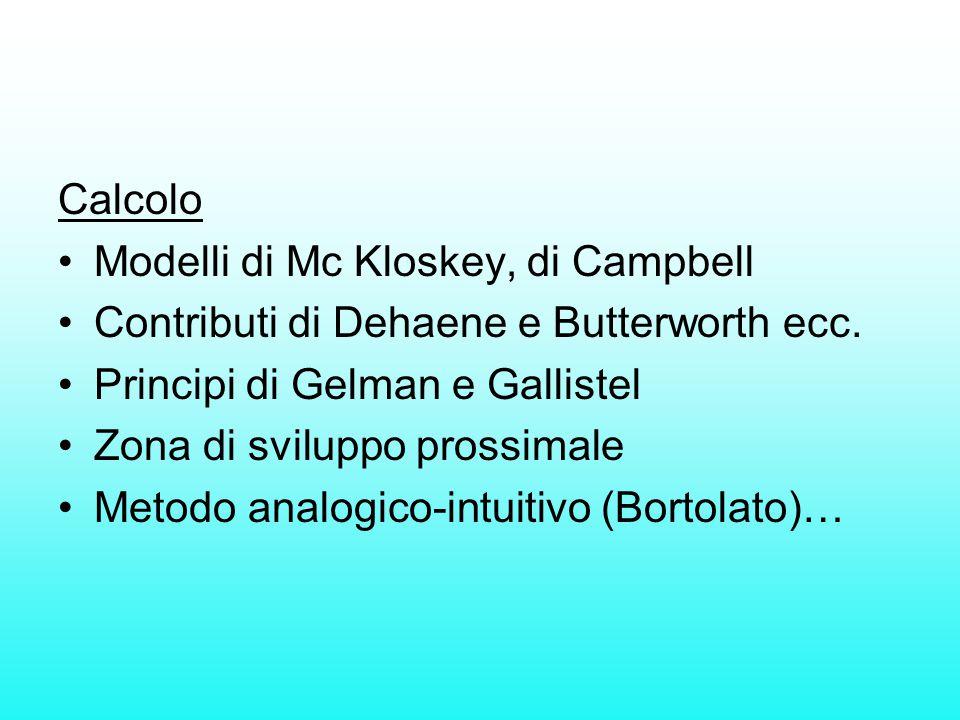 Calcolo Modelli di Mc Kloskey, di Campbell Contributi di Dehaene e Butterworth ecc. Principi di Gelman e Gallistel Zona di sviluppo prossimale Metodo