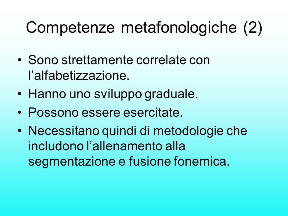 Competenze metafonologiche (2) Sono strettamente correlate con l'alfabetizzazione. Hanno uno sviluppo graduale. Possono essere esercitate. Necessitano