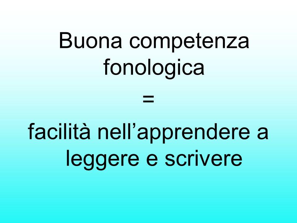 Buona competenza fonologica = facilità nell'apprendere a leggere e scrivere