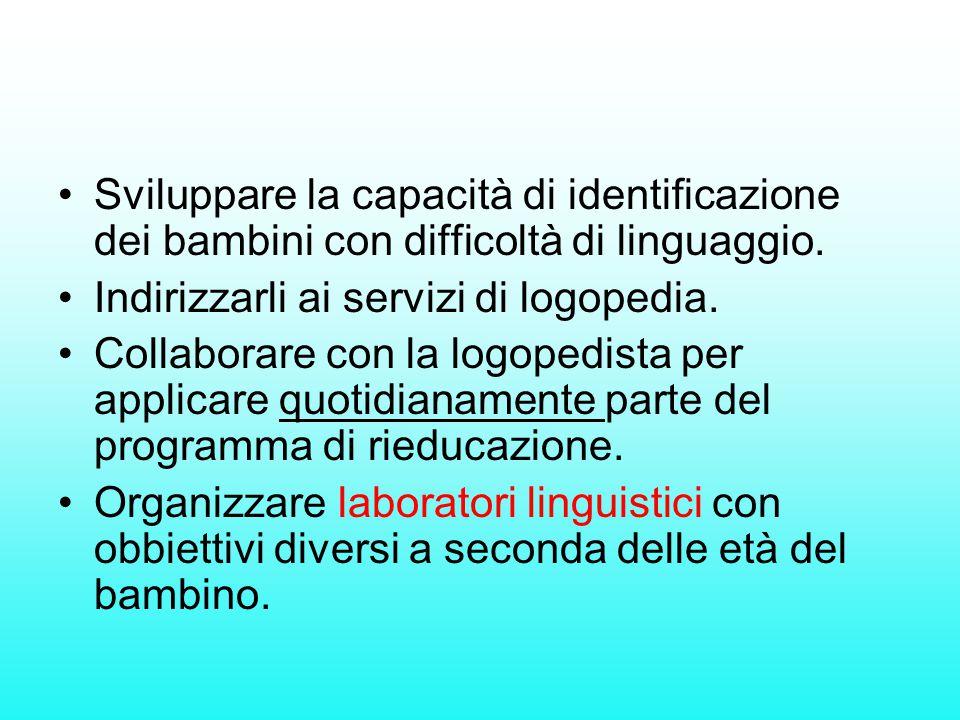 Sviluppare la capacità di identificazione dei bambini con difficoltà di linguaggio. Indirizzarli ai servizi di logopedia. Collaborare con la logopedis