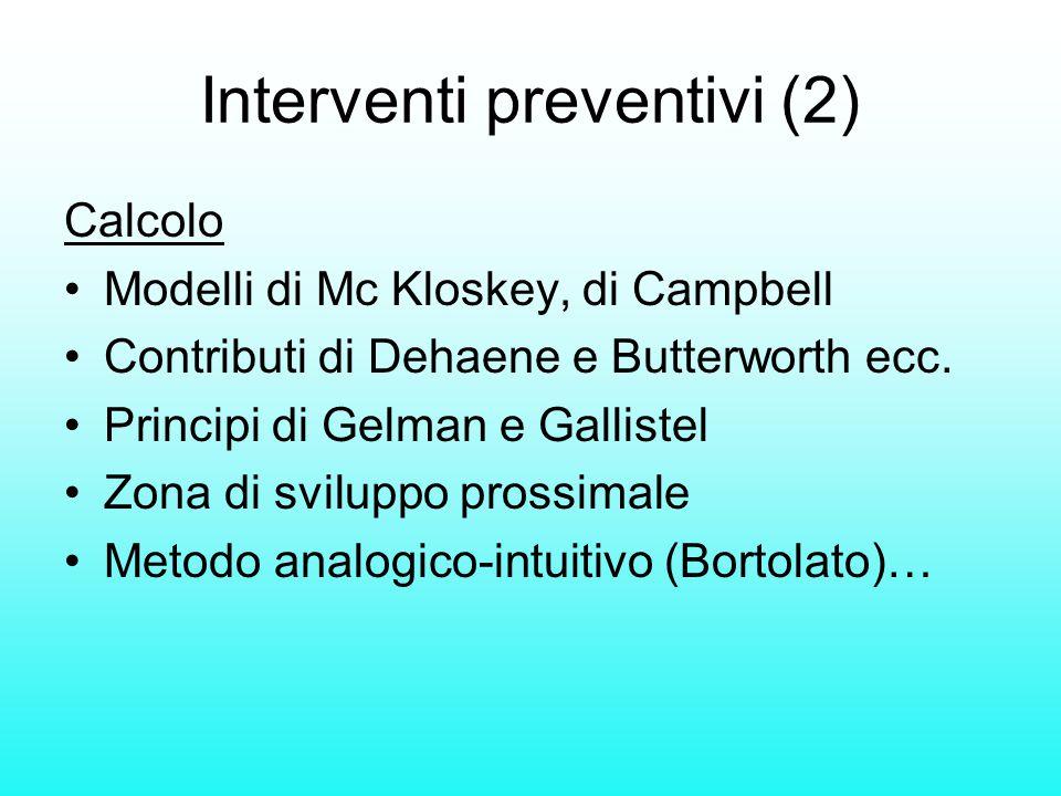 Interventi preventivi (2) Calcolo Modelli di Mc Kloskey, di Campbell Contributi di Dehaene e Butterworth ecc. Principi di Gelman e Gallistel Zona di s