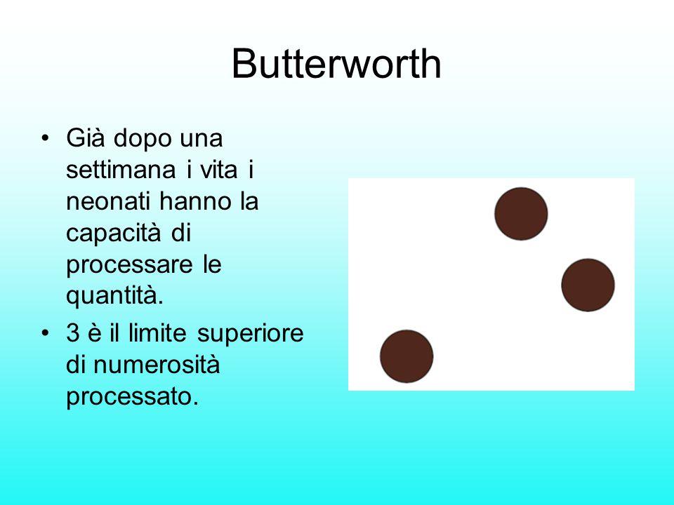 Butterworth Già dopo una settimana i vita i neonati hanno la capacità di processare le quantità. 3 è il limite superiore di numerosità processato.