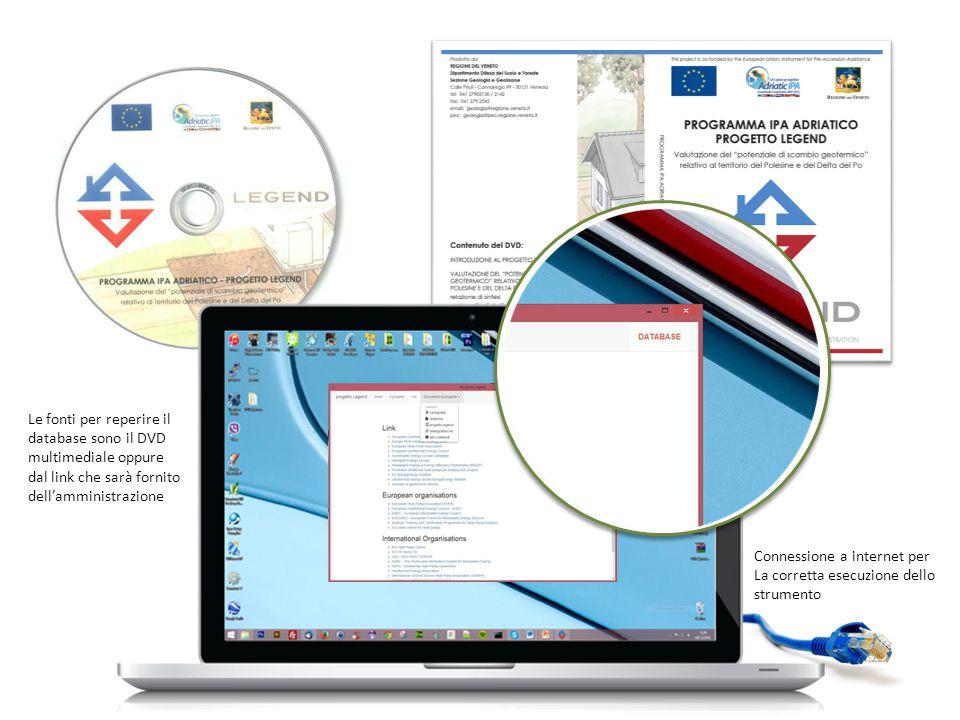 Le fonti per reperire il database sono il DVD multimediale oppure dal link che sarà fornito dell'amministrazione Connessione a internet per La corretta esecuzione dello strumento