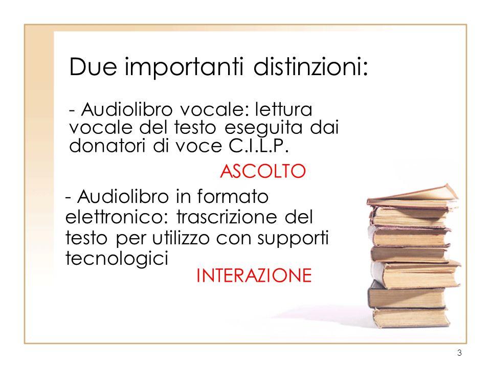 3 Due importanti distinzioni: - Audiolibro vocale: lettura vocale del testo eseguita dai donatori di voce C.I.L.P.