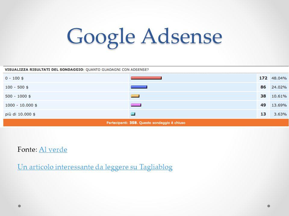 Google Adsense Fonte: Al verdeAl verde Un articolo interessante da leggere su Tagliablog