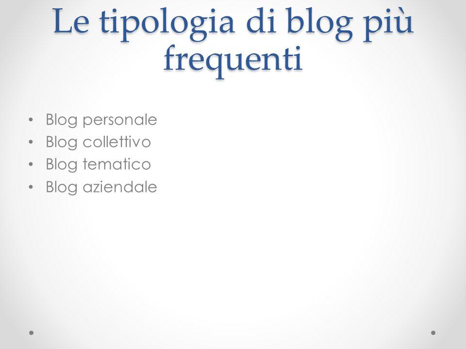 Le tipologia di blog più frequenti Blog personale Blog collettivo Blog tematico Blog aziendale