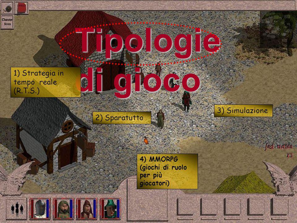 Tipologie di gioco 1) Strategia in tempo reale (R.T.S.) 2) Sparatutto 3) Simulazione 4) MMORPG (giochi di ruolo per più giocatori)