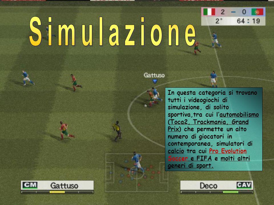 In questa categoria si trovano tutti i videogiochi di simulazione, di solito sportiva,tra cui l'automobilismo (Toca2, Trackmania, Grand Prix) che permette un alto numero di giocatori in contemporanea, simulatori di calcio tra cui Pro Evolution Soccer e FIFA e molti altri generi di sport.