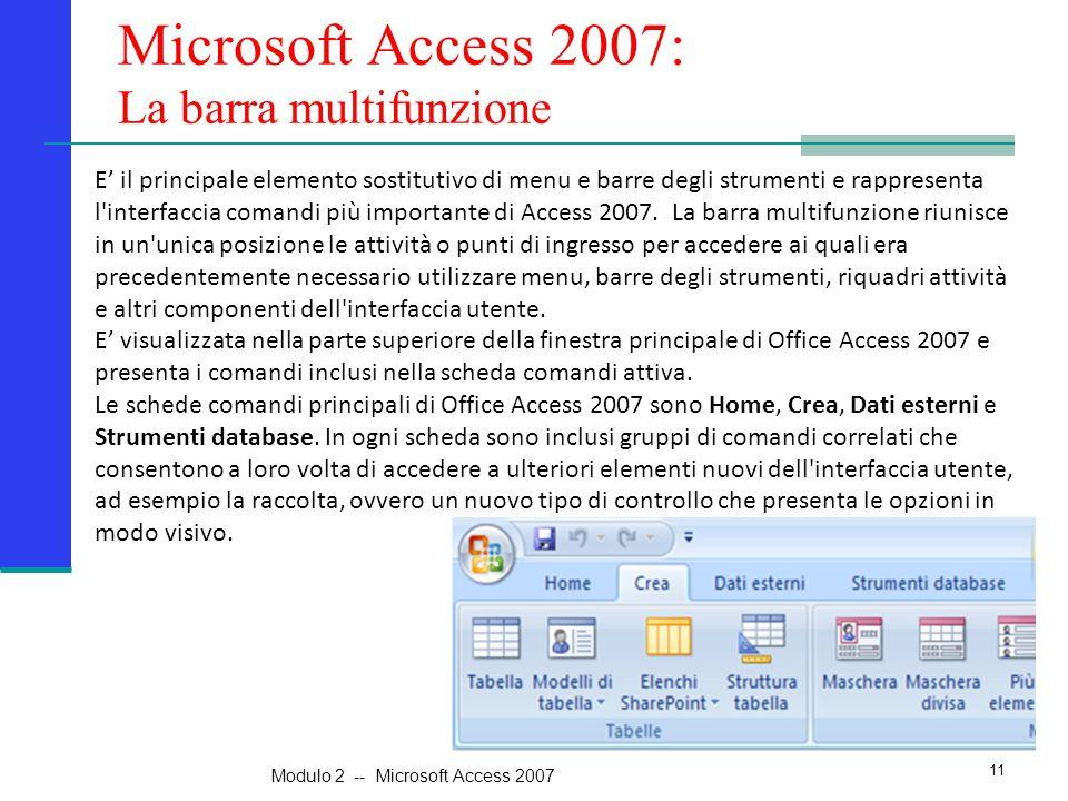 Microsoft Access 2007: La barra multifunzione E' il principale elemento sostitutivo di menu e barre degli strumenti e rappresenta l interfaccia comandi più importante di Access 2007.