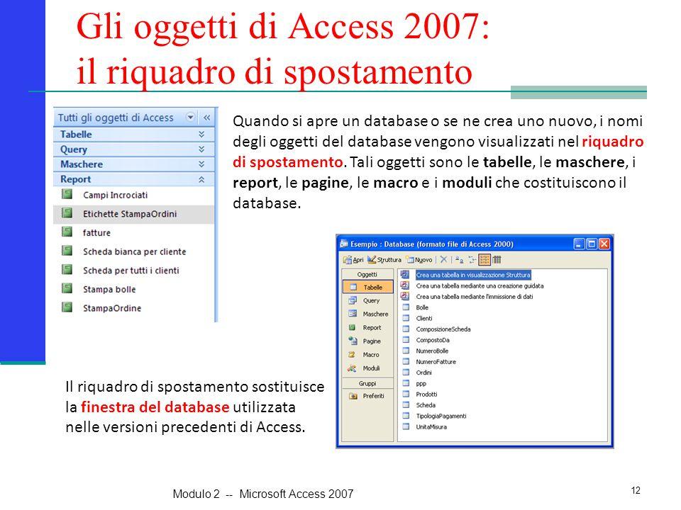 Gli oggetti di Access 2007: il riquadro di spostamento Quando si apre un database o se ne crea uno nuovo, i nomi degli oggetti del database vengono vi
