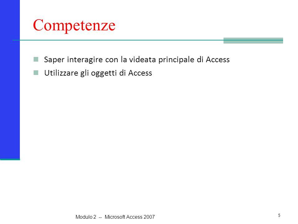 Competenze Saper interagire con la videata principale di Access Utilizzare gli oggetti di Access 5 Modulo 2 -- Microsoft Access 2007