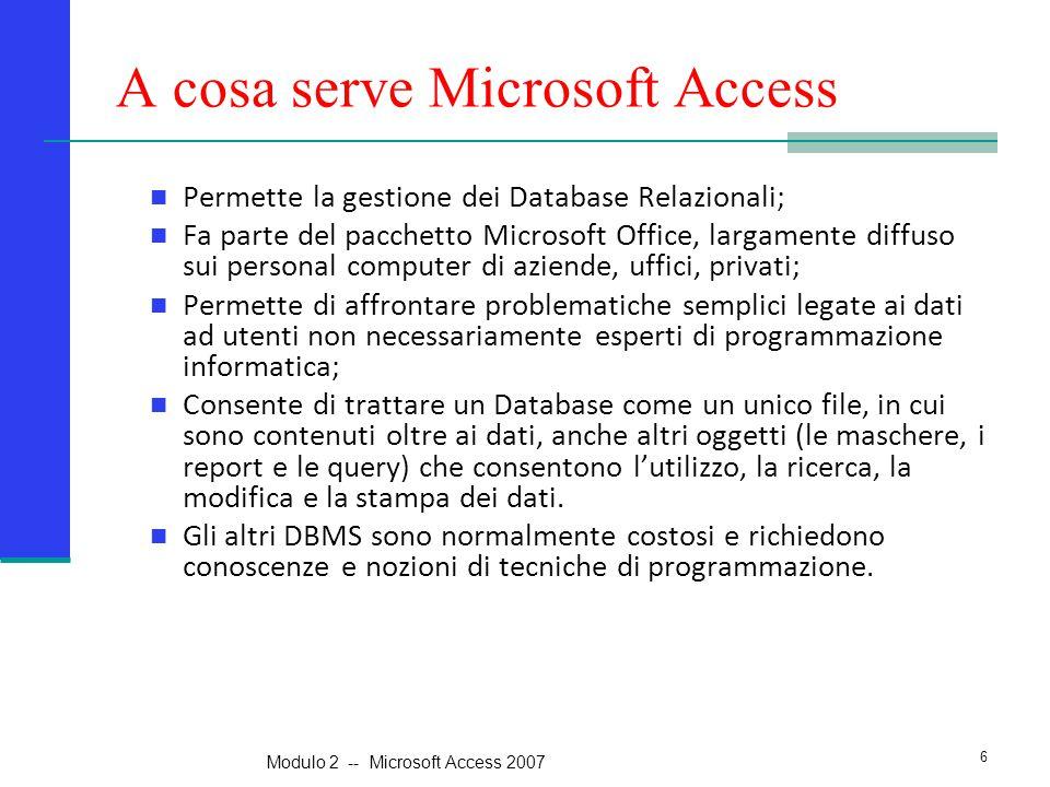 A cosa serve Microsoft Access Permette la gestione dei Database Relazionali; Fa parte del pacchetto Microsoft Office, largamente diffuso sui personal