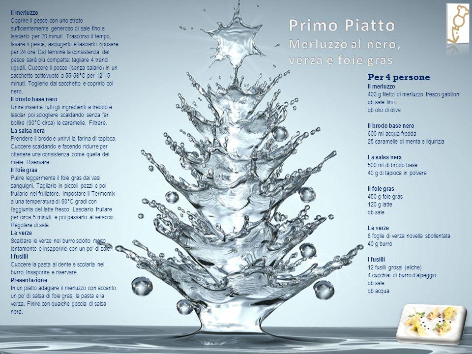 Per 4 persone Il merluzzo 400 g filetto di merluzzo fresco gabillon qb sale fino qb olio di oliva Il brodo base nero 600 ml acqua fredda 25 caramelle