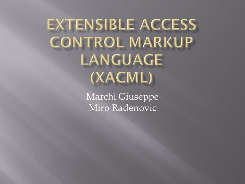  Acronimo di: eXtensible Access Control Markup Language  Standard OASIS che descrive:  Un linguaggio di Policy, utilizzato per descrivere i requisiti generali del controllo degli accessi a risorse distribuite.