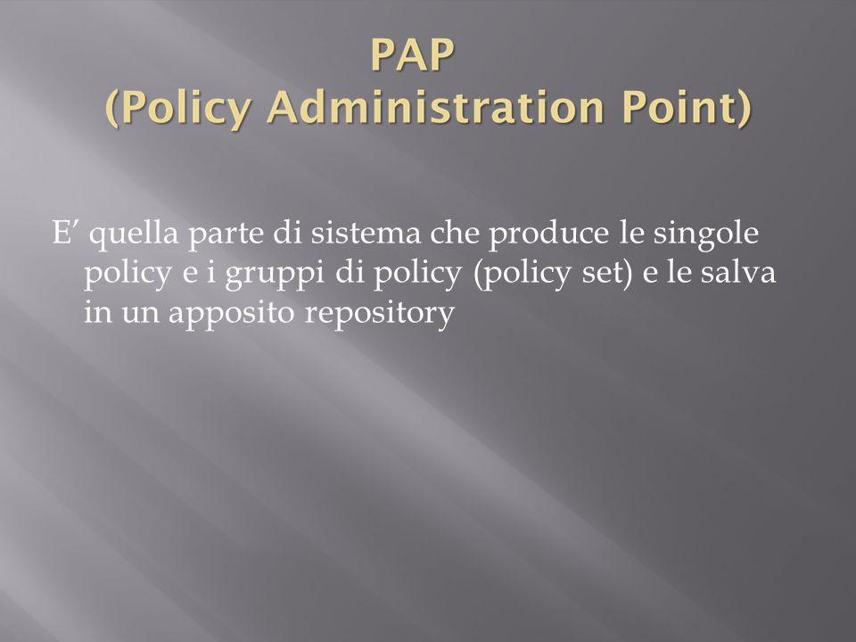 E' quella parte di sistema che produce le singole policy e i gruppi di policy (policy set) e le salva in un apposito repository