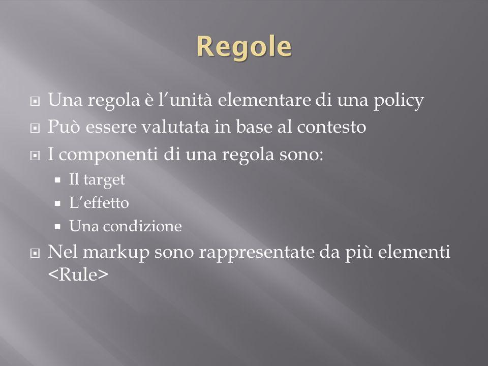  Una regola è l'unità elementare di una policy  Può essere valutata in base al contesto  I componenti di una regola sono:  Il target  L'effetto  Una condizione  Nel markup sono rappresentate da più elementi