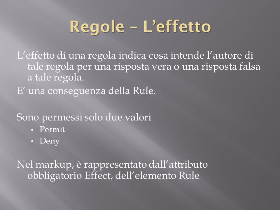 L'effetto di una regola indica cosa intende l'autore di tale regola per una risposta vera o una risposta falsa a tale regola.