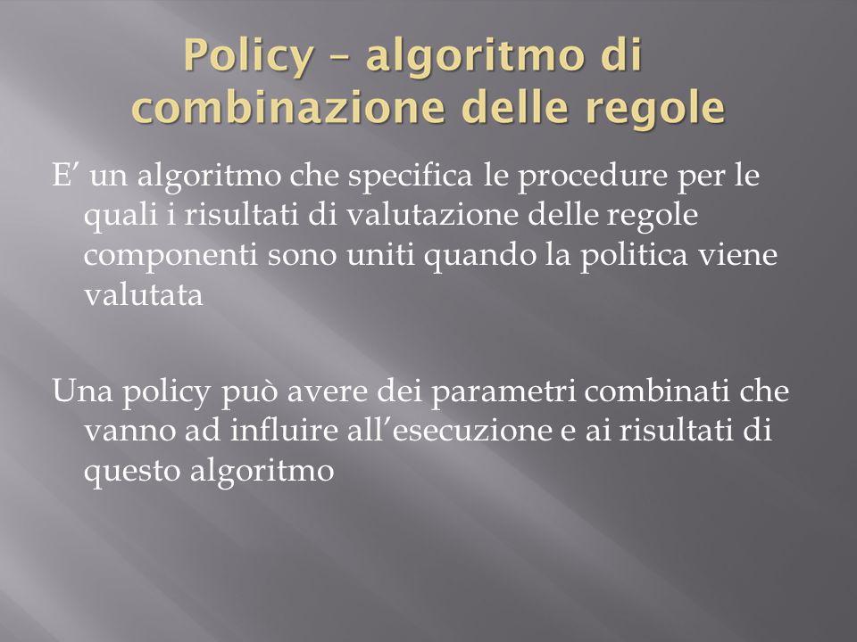 E' un algoritmo che specifica le procedure per le quali i risultati di valutazione delle regole componenti sono uniti quando la politica viene valutata Una policy può avere dei parametri combinati che vanno ad influire all'esecuzione e ai risultati di questo algoritmo