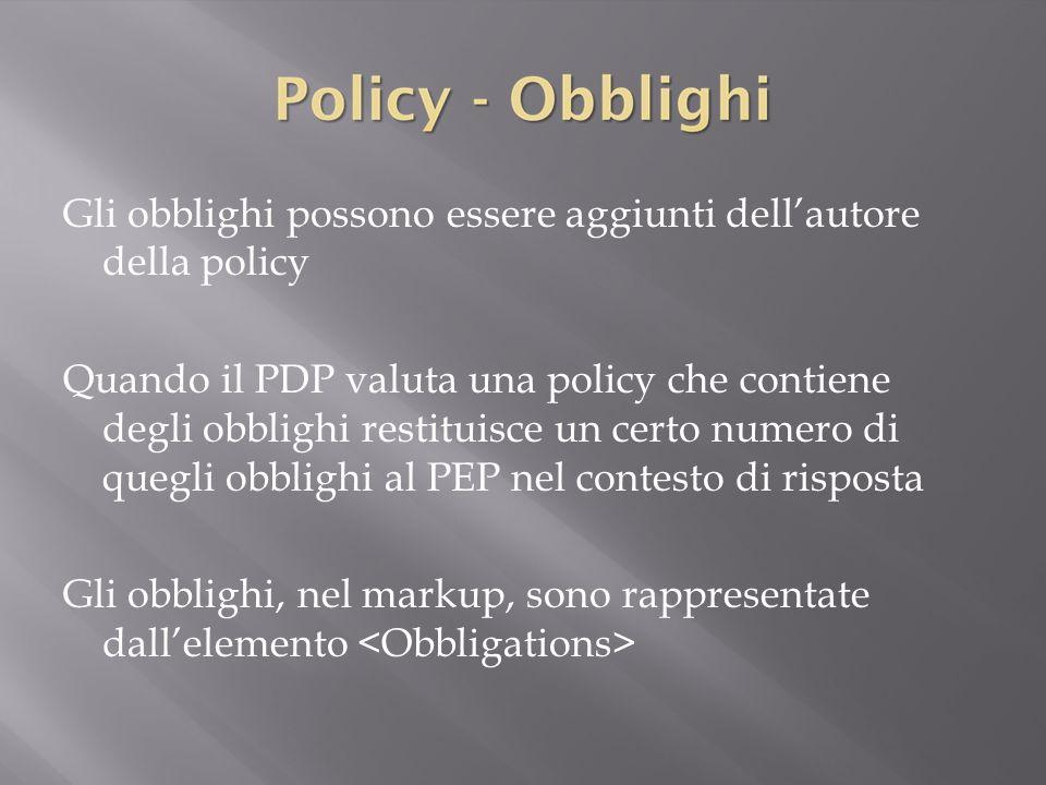 Gli obblighi possono essere aggiunti dell'autore della policy Quando il PDP valuta una policy che contiene degli obblighi restituisce un certo numero di quegli obblighi al PEP nel contesto di risposta Gli obblighi, nel markup, sono rappresentate dall'elemento