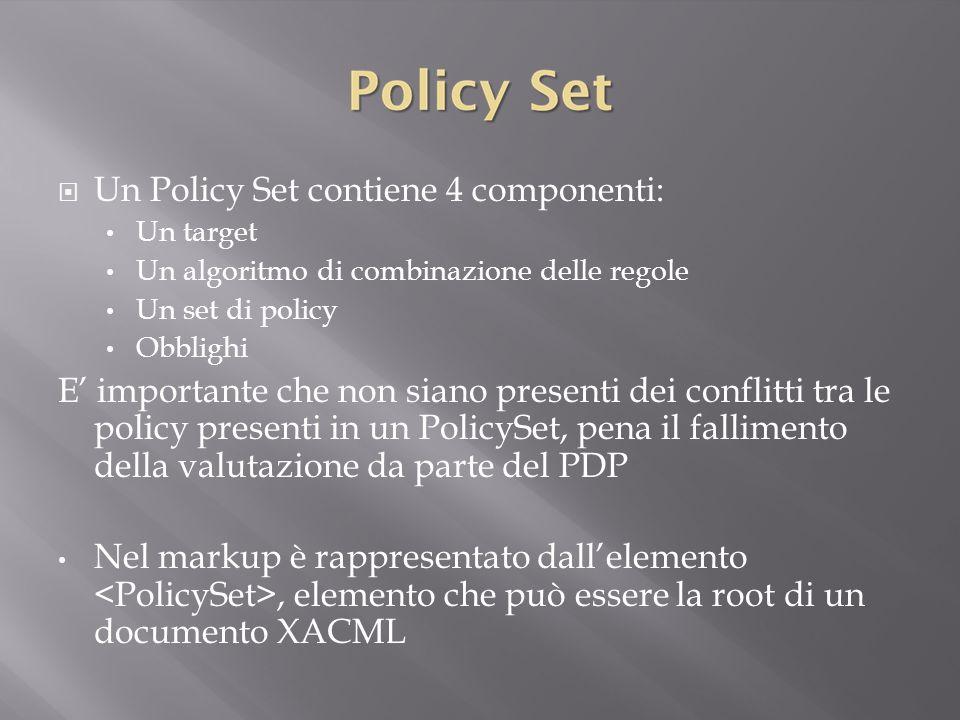  Un Policy Set contiene 4 componenti: Un target Un algoritmo di combinazione delle regole Un set di policy Obblighi E' importante che non siano presenti dei conflitti tra le policy presenti in un PolicySet, pena il fallimento della valutazione da parte del PDP Nel markup è rappresentato dall'elemento, elemento che può essere la root di un documento XACML