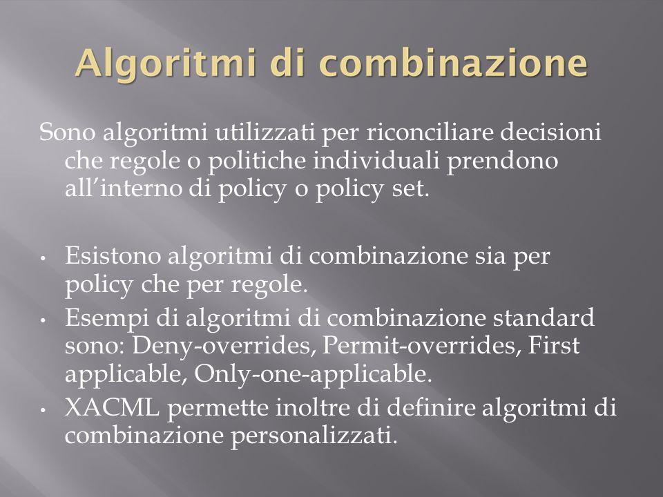 Sono algoritmi utilizzati per riconciliare decisioni che regole o politiche individuali prendono all'interno di policy o policy set.