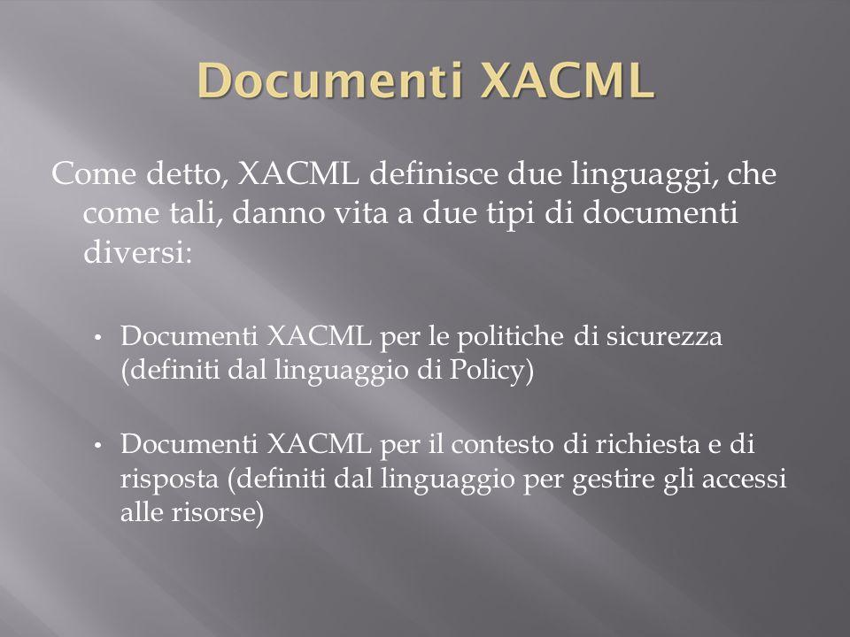 Come detto, XACML definisce due linguaggi, che come tali, danno vita a due tipi di documenti diversi: Documenti XACML per le politiche di sicurezza (definiti dal linguaggio di Policy) Documenti XACML per il contesto di richiesta e di risposta (definiti dal linguaggio per gestire gli accessi alle risorse)
