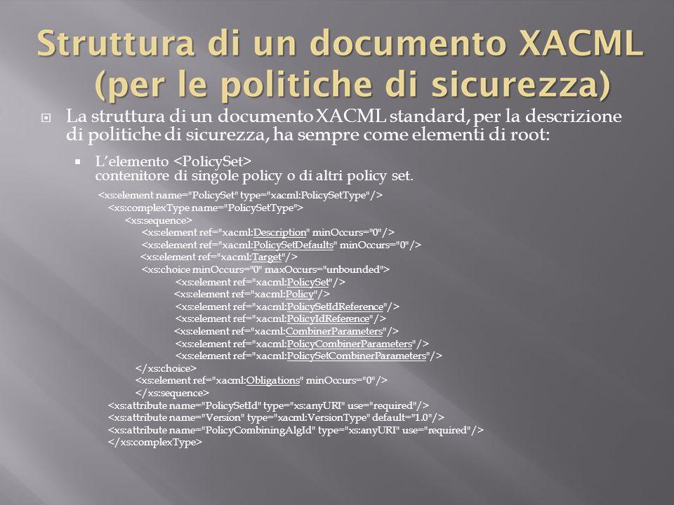  La struttura di un documento XACML standard, per la descrizione di politiche di sicurezza, ha sempre come elementi di root:  L'elemento contenitore di singole policy o di altri policy set.