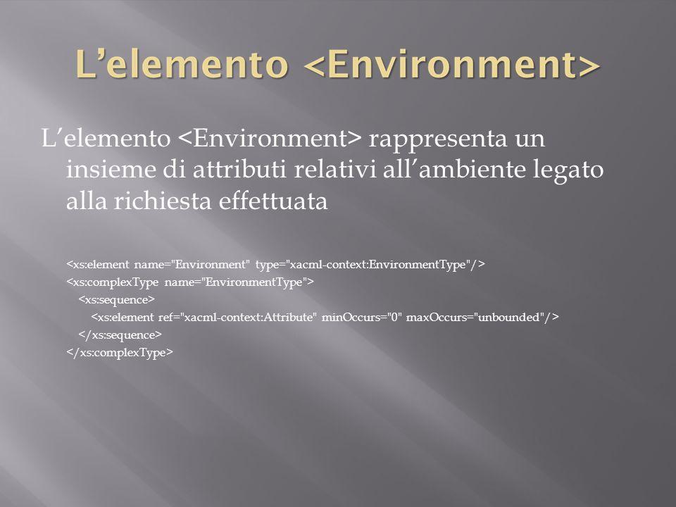 L'elemento rappresenta un insieme di attributi relativi all'ambiente legato alla richiesta effettuata