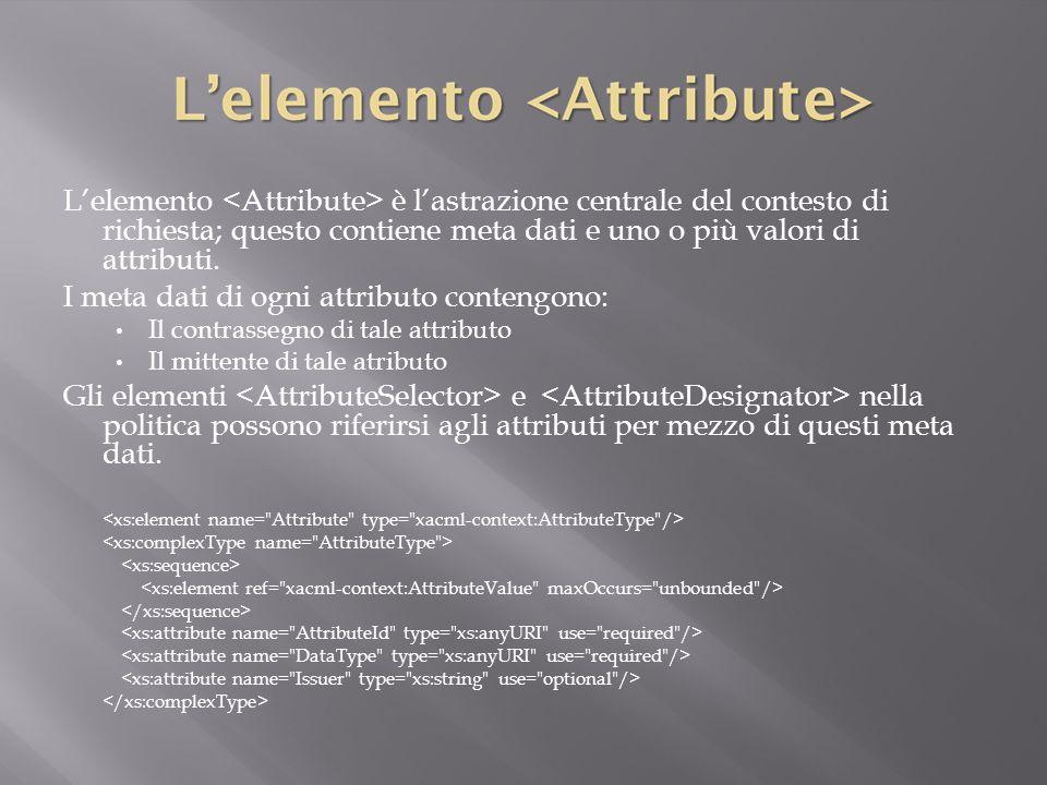 L'elemento è l'astrazione centrale del contesto di richiesta; questo contiene meta dati e uno o più valori di attributi.