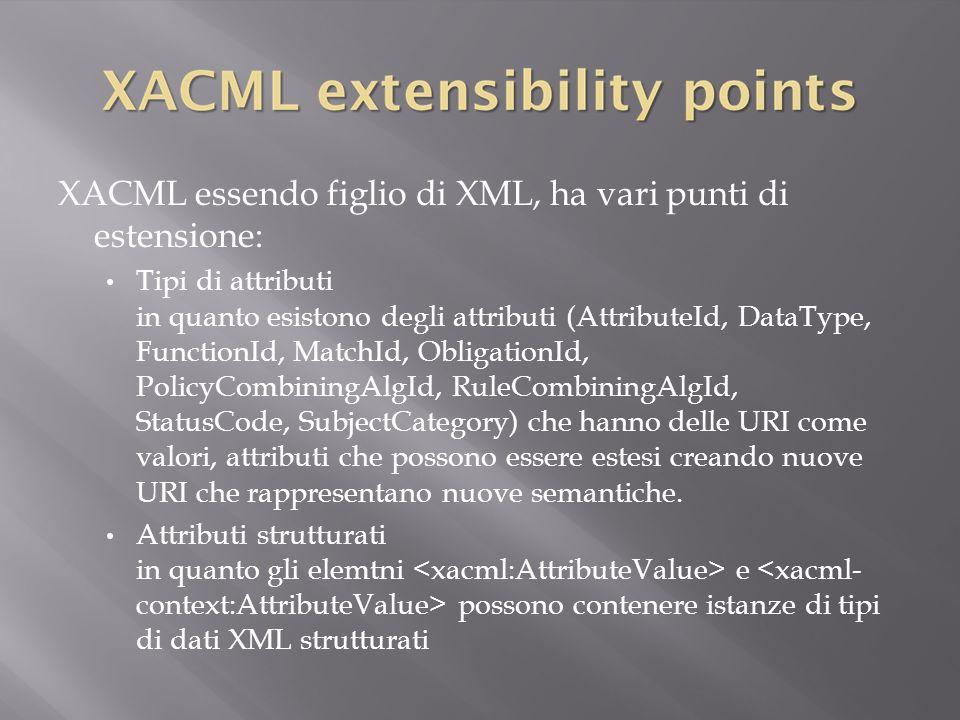 XACML essendo figlio di XML, ha vari punti di estensione: Tipi di attributi in quanto esistono degli attributi (AttributeId, DataType, FunctionId, MatchId, ObligationId, PolicyCombiningAlgId, RuleCombiningAlgId, StatusCode, SubjectCategory) che hanno delle URI come valori, attributi che possono essere estesi creando nuove URI che rappresentano nuove semantiche.