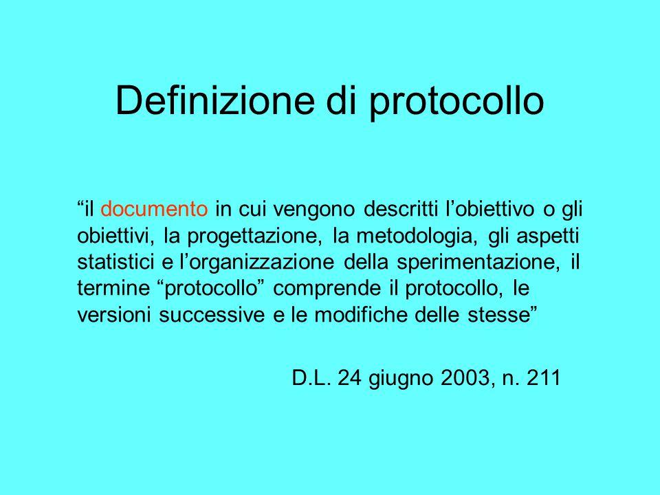 Definizione di protocollo il documento in cui vengono descritti l'obiettivo o gli obiettivi, la progettazione, la metodologia, gli aspetti statistici e l'organizzazione della sperimentazione, il termine protocollo comprende il protocollo, le versioni successive e le modifiche delle stesse D.L.