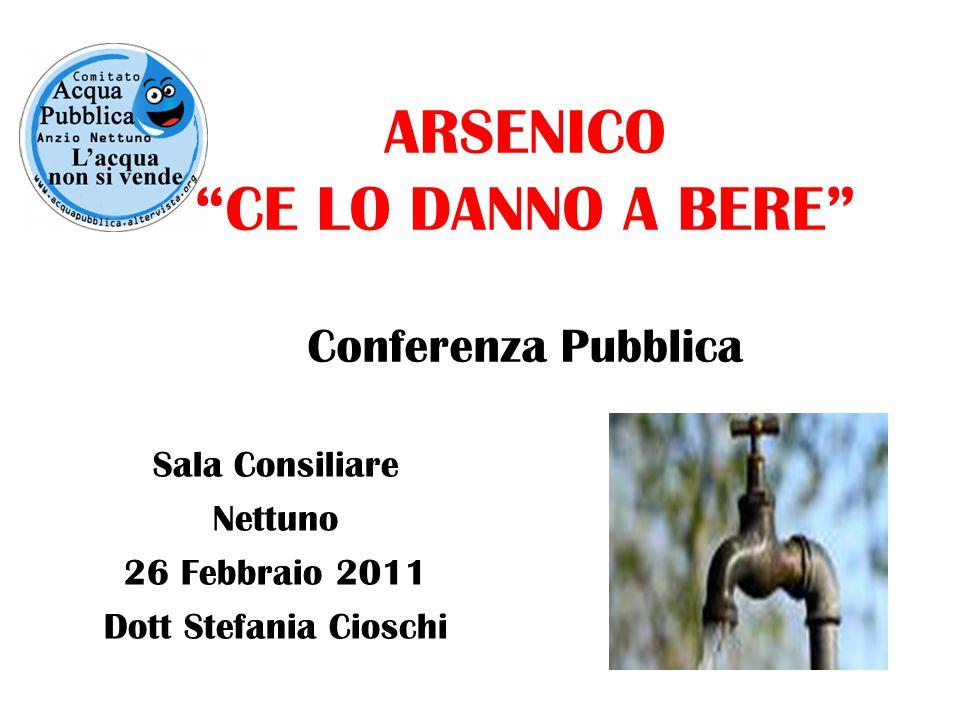 ARSENICO CE LO DANNO A BERE Conferenza Pubblica Sala Consiliare Nettuno 26 Febbraio 2011 Dott Stefania Cioschi