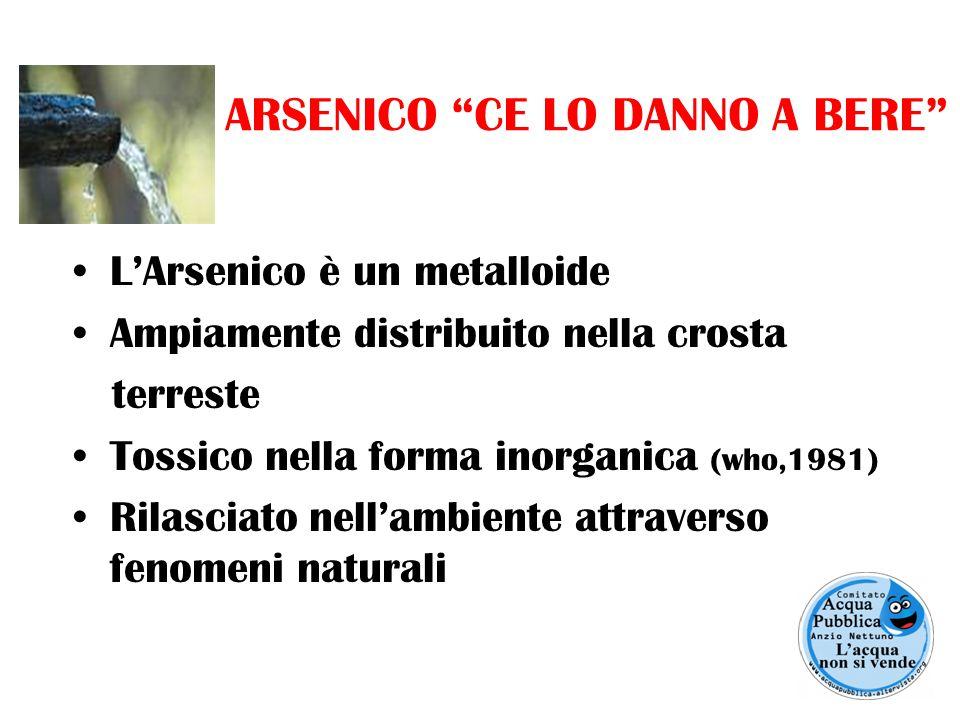 ARSENICO CE LO DANNO A BERE L'Arsenico è un metalloide Ampiamente distribuito nella crosta terreste Tossico nella forma inorganica (who,1981) Rilasciato nell'ambiente attraverso fenomeni naturali