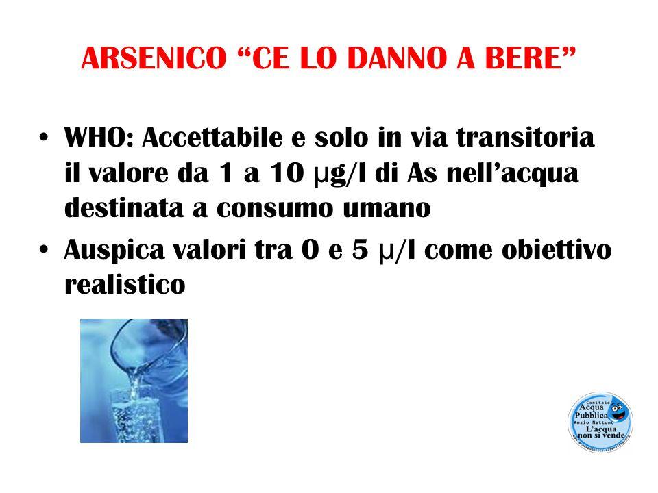 ARSENICO CE LO DANNO A BERE WHO: Accettabile e solo in via transitoria il valore da 1 a 10 μ g/l di As nell'acqua destinata a consumo umano Auspica valori tra 0 e 5 μ /l come obiettivo realistico