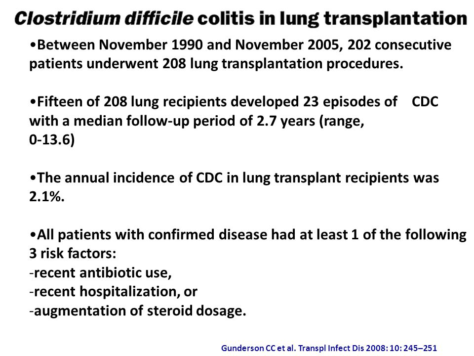 Gunderson CC et al. Transpl Infect Dis 2008: 10: 245–251 Between November 1990 and November 2005, 202 consecutive patients underwent 208 lung transpla