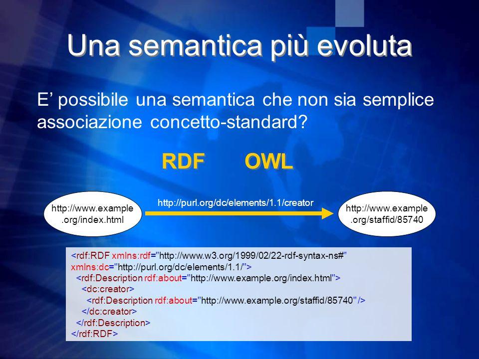 Una semantica più evoluta E' possibile una semantica che non sia semplice associazione concetto-standard.