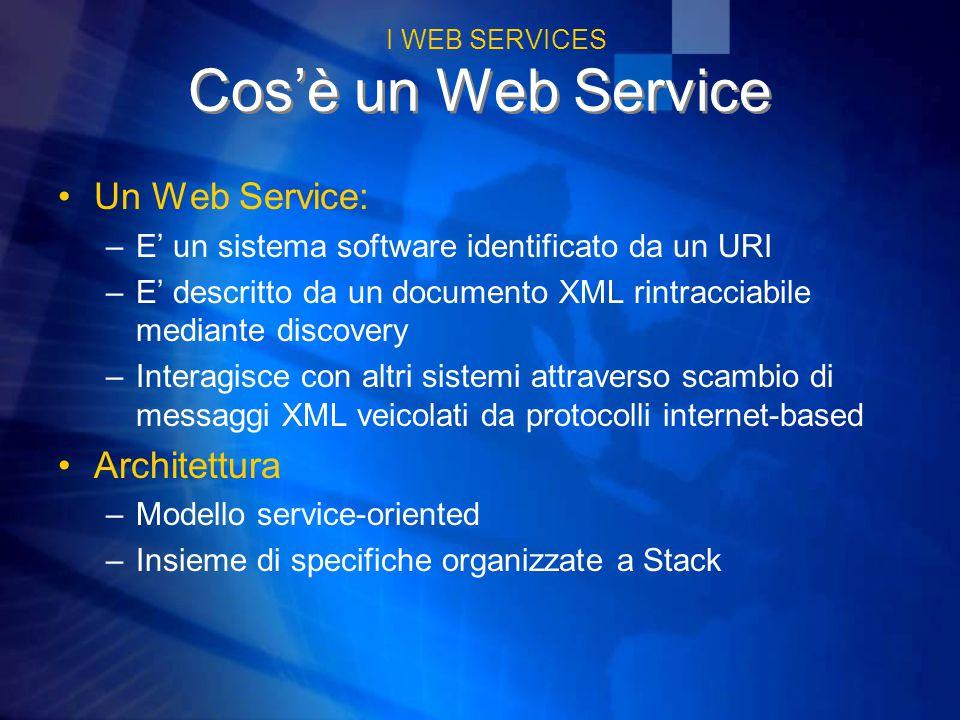 Cos'è un Web Service Un Web Service: –E' un sistema software identificato da un URI –E' descritto da un documento XML rintracciabile mediante discovery –Interagisce con altri sistemi attraverso scambio di messaggi XML veicolati da protocolli internet-based Architettura –Modello service-oriented –Insieme di specifiche organizzate a Stack I WEB SERVICES