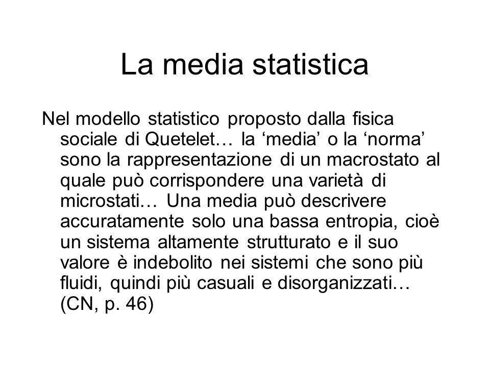 La media statistica Nel modello statistico proposto dalla fisica sociale di Quetelet… la 'media' o la 'norma' sono la rappresentazione di un macrostat