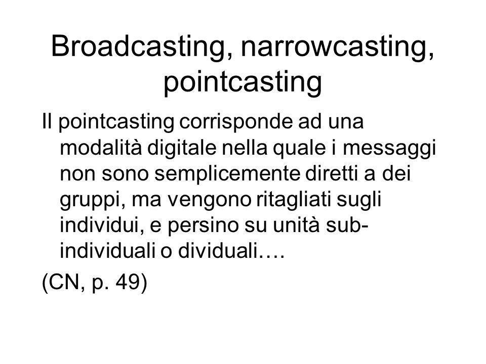 Broadcasting, narrowcasting, pointcasting Il pointcasting corrisponde ad una modalità digitale nella quale i messaggi non sono semplicemente diretti a dei gruppi, ma vengono ritagliati sugli individui, e persino su unità sub- individuali o dividuali….