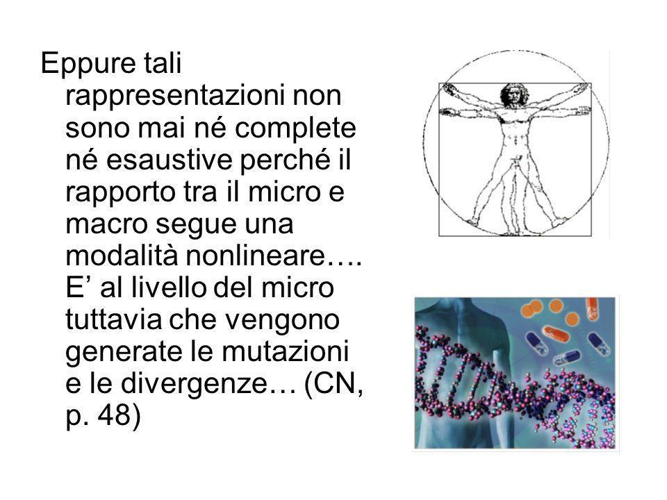 Eppure tali rappresentazioni non sono mai né complete né esaustive perché il rapporto tra il micro e macro segue una modalità nonlineare…. E' al livel