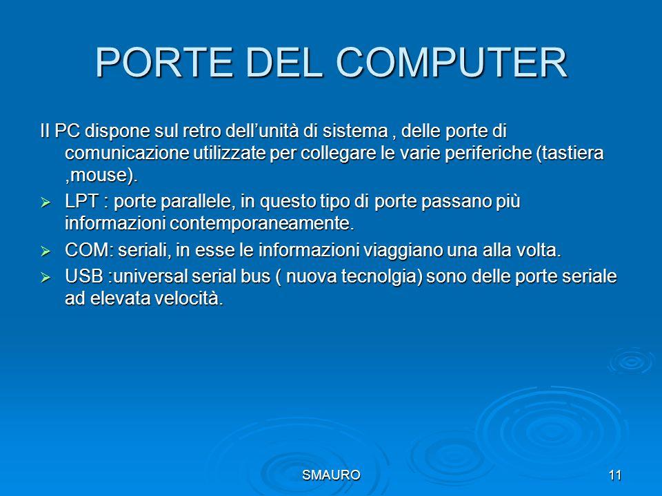 SMAURO11 PORTE DEL COMPUTER Il PC dispone sul retro dell'unità di sistema, delle porte di comunicazione utilizzate per collegare le varie periferiche